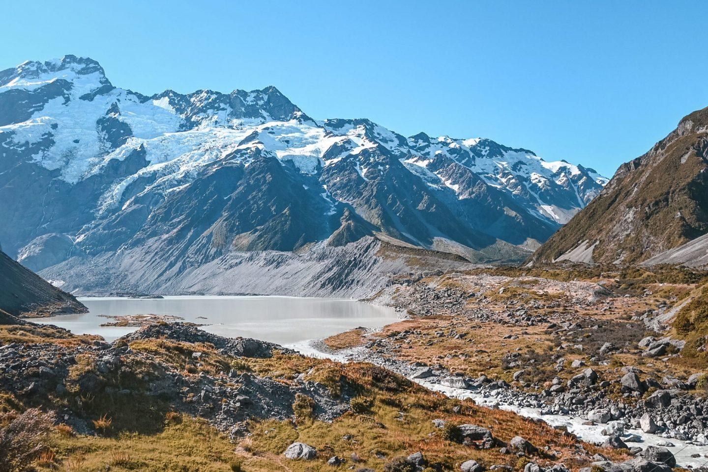 Nova Zelandija Mount Cook Hooker Valley Track Mueller Lake
