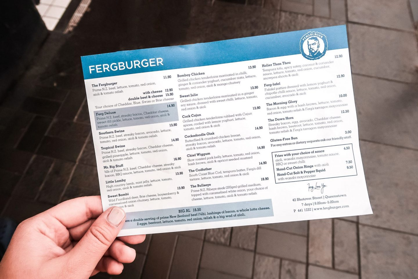 Fergburger menu - Things to Do in Queenstown If You're NOT an Adrenaline Junkie