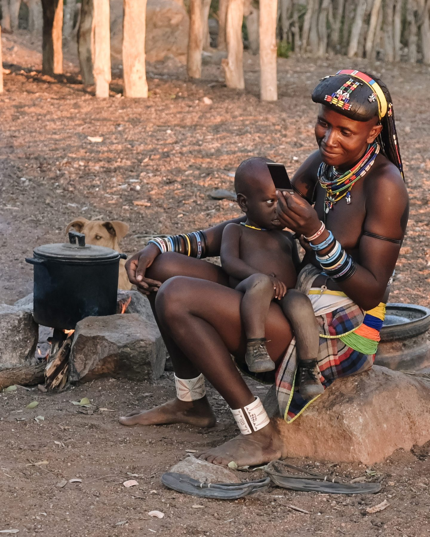 Zemba tribe woman and child in Namibia