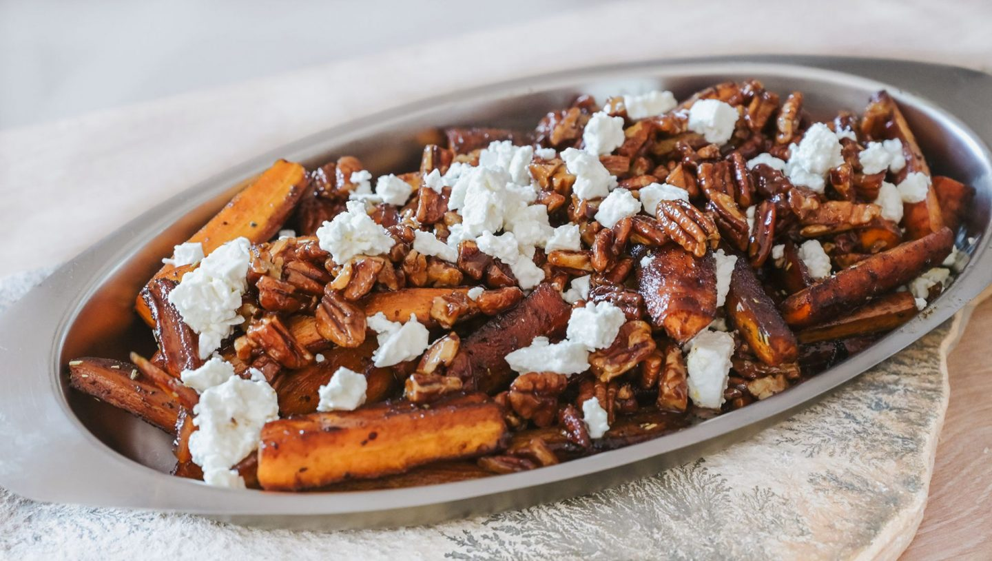 Sweet Glazed Carrots with Pecans and Feta Cheese Recipe